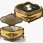 SOLD Antique Italian Grand Tour Pietra Dura Jewelry Casket, Box,  Berchielli, Firenze