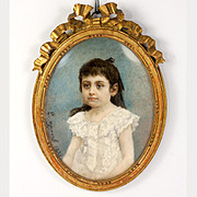 SOLD Artist Signed Antique French Portrait Miniature of a Young Girl, Impressionist and in Woo