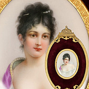 SOLD Antique French Empire Portrait Miniature in Ornate Frame, Mme Juliette Récamier, after G