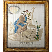 SALE RARE c.1819 Napoleonic Silk on Silk Embroidery Sampler #4 in Frame, Saint Joseph ...