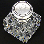SALE Antique Gorham Sterling Silver & Cut Crystal Inkwell, Facet Cut Base