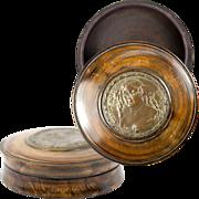 SOLD Superb Antique French Snuff Box, Bronze Portrait Mme de Sevigne