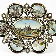 SALE Antique French Paris Expo Grand Tour Souvenir Tray, 7 Eglomise Views of Monuments, c.1889