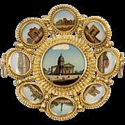 SALE Antique French Paris Grand Tour Souvenir Tray, 9 Eglomise Views of Monuments, c.1880