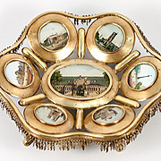 SALE Antique French Paris Expo Grand Tour Souvenir Tray, 7 Eglomise Views of Monuments, c.1890