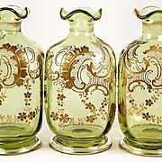 SALE Set of 3 Antique French Raised Gold Decanters, Carafe for Duet Service