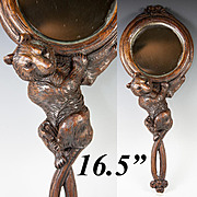 """SALE Fab Antique Black Forest Bear Hand Mirror, 19th c. Hand Carved and 16.5"""" Long"""