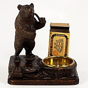 SALE Antique Black Forest Bear Smoker's Stand, Match Stand & Pipe Ash Tray
