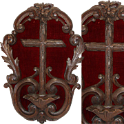 """SALE Ornate Antique Black Forest Carved 16.5"""" Plaque, Cross & Benitier or Holy Water Font"""