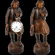SALE Antique Hand Carved Black Forest Man Figure is a Pocket Watch Holder