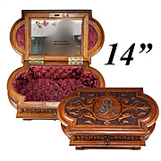"""SALE Large 14.75"""" Antique French Hand Carved Jewelry Chest, Box, with Hidden Drawer"""