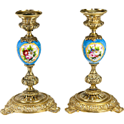SALE Antique French Porcelain & Dore Bronze Candlestick Pair, HP Sevres Blue with Flowers