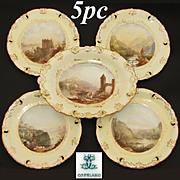 SALE Antique W.T. Copeland 5pc Decorative Cabinet Plate & Serving Dish Set, HP Grand Tour Scen