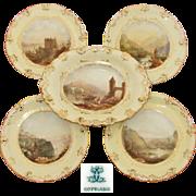 SALE Antique W.T. Copeland 5pc Decorative Cabinet Plate & Serving Dish Set, HP Grand Tour ...