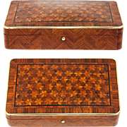 SALE Antique French Marquetry Jewelry Casket, Possible Cigar, Game or Cards Box, Napoleon III
