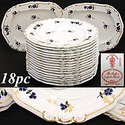 "SALE Rare Antique Royal Crown Derby 10 3/8"" Plate Set, 14pc with 2pc Serving Dishes with"