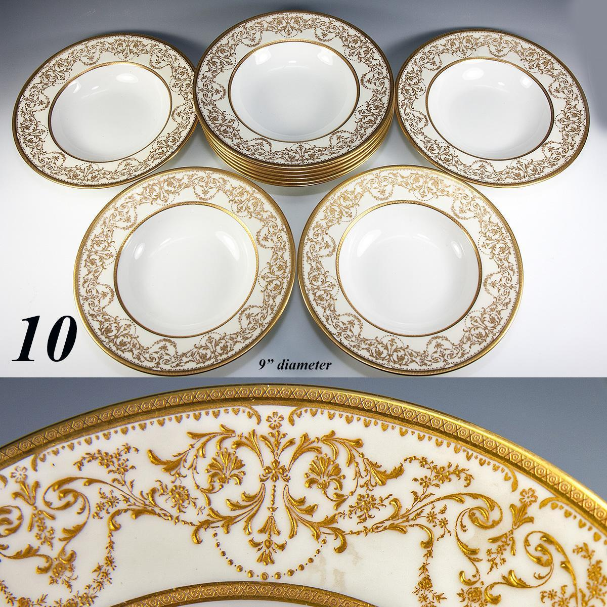 Fine Set of 10 Antique Royal Doulton Soup Plates Raised Gold Enamel Encrusted  sc 1 st  eBay & Fine Conjunto de 10 Antiguo Royal Doulton platos de sopa levantó ...