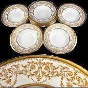 SALE Fine Set of 10 Antique Royal Doulton Soup Plates, Raised Gold Enamel Encrusted, Belle ...