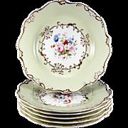 SALE Fine HP Antique Old Paris Porcelain Dessert Set, 6 Plates, 1 Platter, Early 1800s