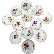 SALE Set of 12 Hand Painted MEISSEN Fruit Bowls, 19th c. Floral & Bug, Gold Rim