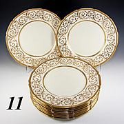 "SALE 11 Elegant c.1928 Royal Doulton HP Raised Gold Encrusted Dinner Plates, 10.5"" Diam."