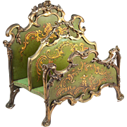 SALE Antique Letter or Stationery Stand, French Bronze and Vernis Martin Painted Wood, c. 1800