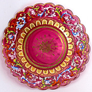 SALE Rare 19th c. Moser Enameled Cranberry Glass Cabinet Plate #1 - Jeweled, Raised Gold. Gorg