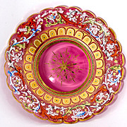 SALE Rare 19th c. Moser Enameled Cranberry Glass Cabinet Plate #2 - Jeweled, Raised Gold. Gorg