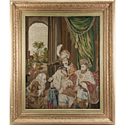 SALE Antique Victorian Era Fine Needlepoint Tapestry in Elegant Frame, King and Throne