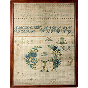 SALE H.E. 1837 - C 1837 Antique Cross Stitch Embroidery Sampler on Linen, in Frame