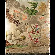 SALE Antique Early 1800s Needlepoint Tapestry, Petitpoint, Templars & Rebecca, Petitpoint ...