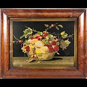 SALE Antique 1800s Silk Embroidery Panel, Original Frame, c. 1850-80 Fruit Still Life
