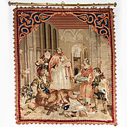SALE Antique Victorian Needlepoint, Needlework Tapestry on Hanging Rod, Fruits of the Hunt