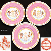"SALE Set of Three Antique Sevres Pink & Gold 9 5/8"" Cabinet Plates, Crown Topped ""N"""