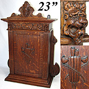 "SALE Superb Antique Victorian Era Carved Oak 22"" Table or Wall Cabinet, Figural, Smoker's"