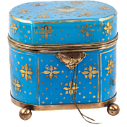 SALE Antique French Opaline Sugar Casket, Jewelry Box, Working Lock with Key, Gold Enamel on .
