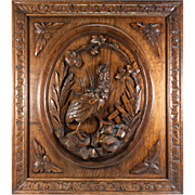 "SALE Superb Antique Black Forest Hand Carved Game Plaque, Wood Panel 25"" x 22.25 ..."