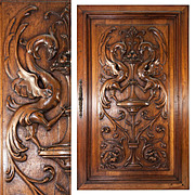 SOLD Fine Antique French Carved Wood Panel, Griffen, Gryphon Pair, Renaissance Revival Cabinet