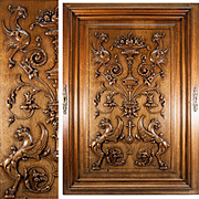 "SALE PENDING Massive 34"" x 24"" Antique Hand Carved Wood Plaque, Door with Griffen, C"