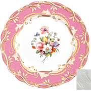 "SALE Antique English 9.25"" Cabinet Plate, Pink & Gold Border with Hand Painted Floral Cen"