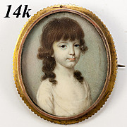 SOLD Fine Antique 14K Brooch Portrait Miniature, Holds a Beautiful Little Girl Child's Paintin