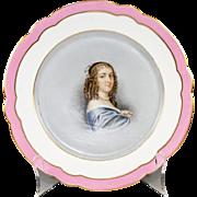 """SALE Antique Old Paris Portrait Plate, Anne """"Ninon"""" de L'Enclos (1620-1705),"""