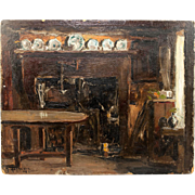 SALE Antique Oil Painting, Impressionist Interior on Card Panel, Plates & Furniture, no Frame,