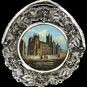 "SALE Antique Grand Tour Style Eglomise Souvenir Bonbon or Trinket Dish, Basket, ""Canterbu"