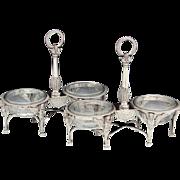SALE PAIR (2) Antique French Sterling Silver Double Open Salt Service, Sphynx, Boulanger, c ..