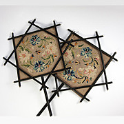 SALE Antique French Face Screen Pair, Victorian Era Chinoiserie, Japonaise, Embroidered Silk,
