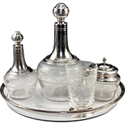 SALE Antique French Sterling Silver Crystal Absinthe or Bedside Service, 2 Decanters, Sugar ..