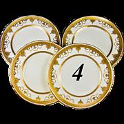 SALE 4 Antique Minton for Tiffany & Co. Opulent Raised Gold Enamel & Encrusted Side or Bread .