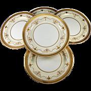 SALE Antique Minton Dinner Plates, c. 1891-1912, Set of 5 Dinner Plates, Raised & Encrusted ..
