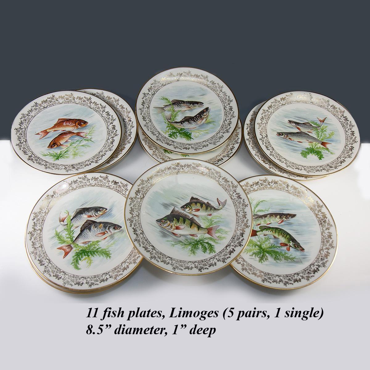 Haviland Limoges Set of 11 Transfer u0026 Painted Fish Plates 8.5  & Antique - Vint. Haviland Limoges Set of 11 Transfer u0026 Painted Fish ...